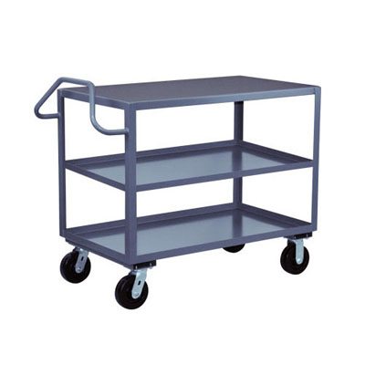 3 Shelf Ergonomic Handle Reinforced Steel Cart, 30' Wide, 2,400 lb. Capacity