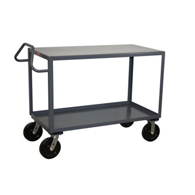 2 Shelf Ergonomic Handle Reinforced Steel Cart, 30' Wide, 4,800 lb. Capacity