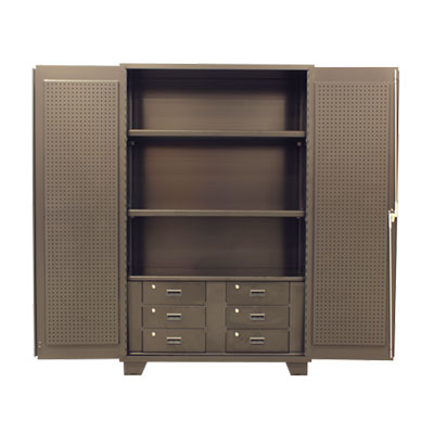Model GV, 14 Gauge Bin Cabinet with Shelves, Drawers & Solid Doors with Pegboards - 48'W x 24'D x 78'H