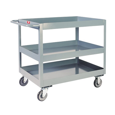 3' Deep Lipped Service Cart w/ 3 Shelves, 18' Wide