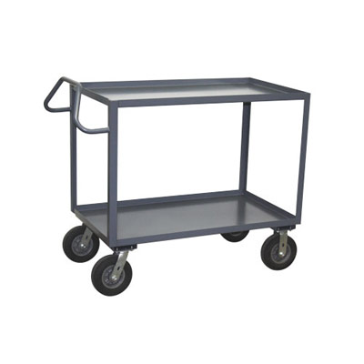 "2 Shelf Ergonomic Handle Steel Vibration Reduction Cart, 30"" Wide"