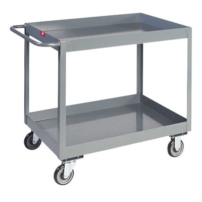 "3"" Deep Lipped Service Cart w/ 2 Shelves, 24"" Wide"