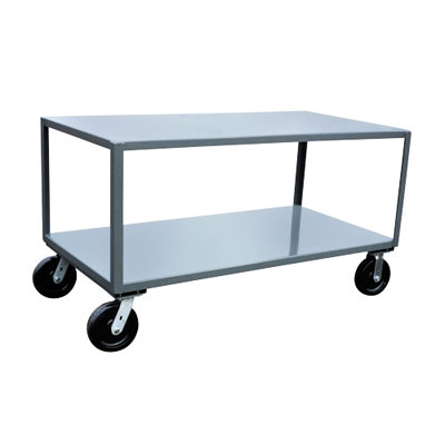 "2 Shelf Reinforced Mobile Table, 4,800 lb. Capacity, 24"" Wide"