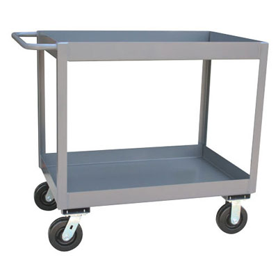 "3"" Deep Lipped Reinforced Service Cart w/ 2 Shelves, 18"" Wide, 2,400 lb. Capacity"