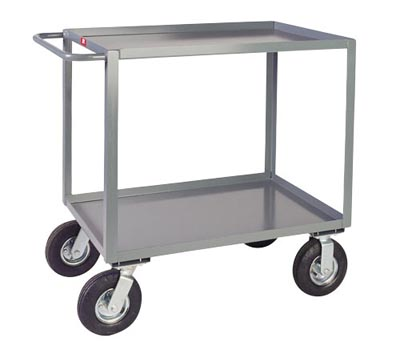 "2 Shelf Steel Vibration Reduction Cart w/ Standard Handle, 36"" Wide, 1,200 lb. Capacity"