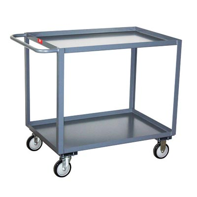 "2 Shelf Steel Service Cart w/ Standard Handle, 36"" Wide, 1,200 lb. Capacity"