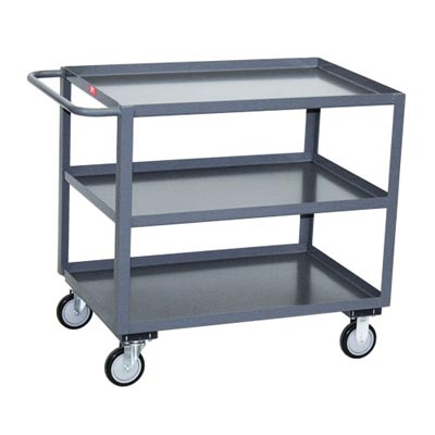"3 Shelf Steel Service Cart w/ Standard Handle, 30"" Wide"
