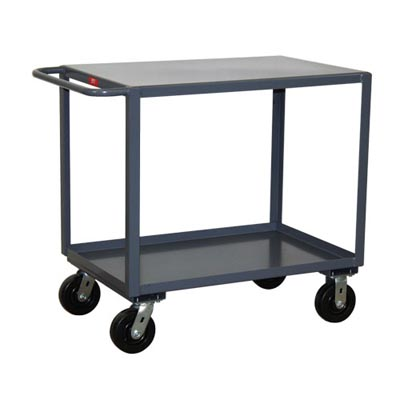 "2 Shelf Steel Reinforced Service Cart w/ Standard Handle, 36"" Wide, 2,400 lb. Capacity"
