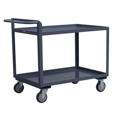 "2 Shelf Low Profile Cart w/ High Handle, 18"" Wide"