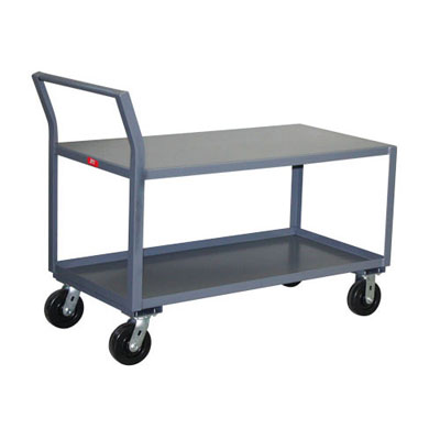 2 Shelf Reinforced Low Profile Steel Cart, 36' Wide, 2,400 lb. Capacity