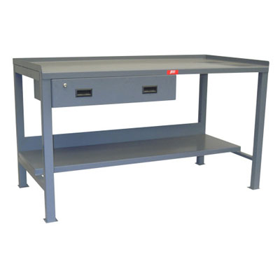 "Heavy Duty Fixed Workbench with Lips Up & 1 Drawer, 36"" Deep"