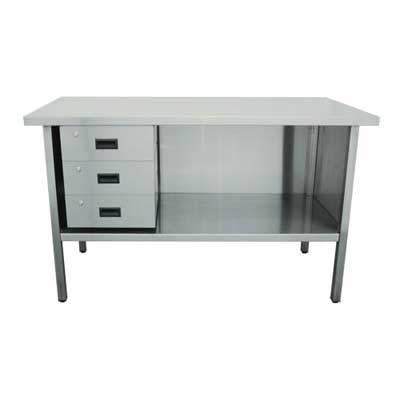 3 Sided Stainless Steel Workbench with 3 Drawers