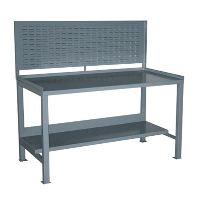 "Heavy Duty Fixed Workbench with Louvered Panel, 30"" Deep"