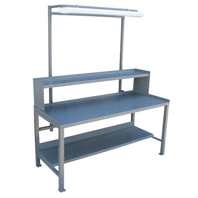 "Heavy Duty Fixed Workbench with 1/2 Shelf & Light Fixture, 30"" Deep"