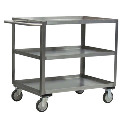 "Stainless Steel 3 Shelf Cart w/ Standard Handle & Steel Rigs, 18"" Wide"