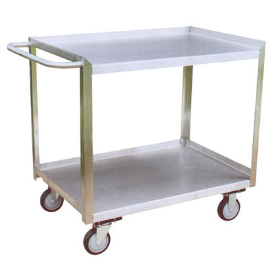 "Stainless Steel 3 Shelf Service Cart w/ Flush Right Side, 18"" Wide"