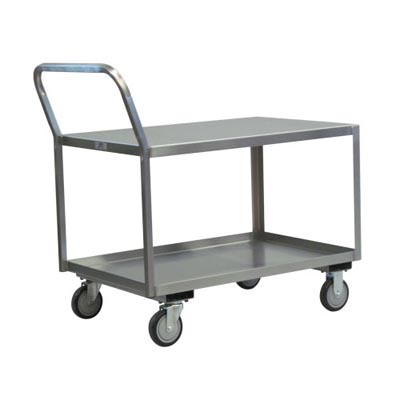 "Stainless Steel Low Profile Cart w/ Raised Offset Handle, Steel Rigs & 5"" Urethane Casters, 18"" Wide"
