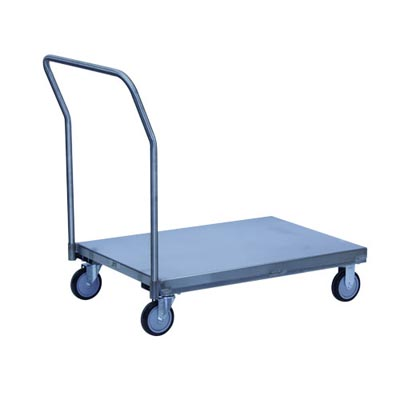 "Stainless Steel Platform Truck w/ Removable Handle, Steel Rigs & 5"" Urethane Casters, 30"" Wide"