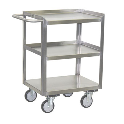 "Stainless Steel Mobile Work Stand w/ 3 Shelves, Steel Rigs & 5"" Urethane Casters, 24"" Deep"