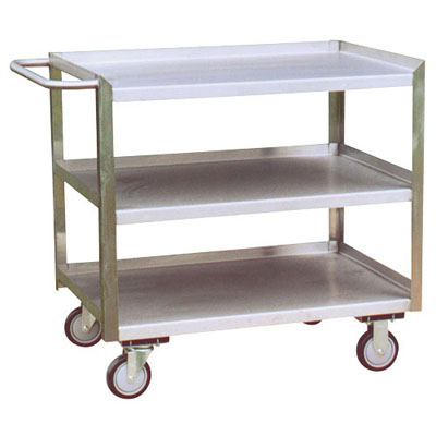 "Stainless Steel 3 Shelf Service Cart w/ Flush Right Side, 30"" Wide"