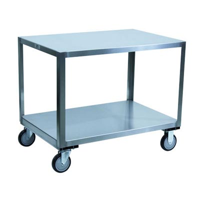 "Stainless Steel Transfer Cart w/ Steel Rigs & 5"" Urethane Casters, 24"" Wide"