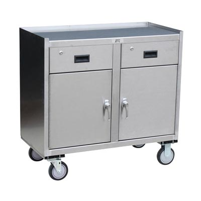 "Stainless Steel Mobile Cabinet w/ 2 Doors, 2 Drawers, Steel Rigs & 5"" Urethane Casters, 24"" Deep"