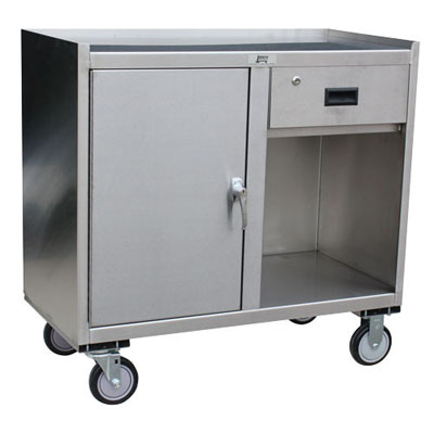 "Stainless Steel Mobile Cabinet w/ 1 Door, 1 Drawer, Steel Rigs & 5"" Urethane Casters, 24"" Deep"