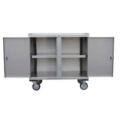 "Stainless Steel Mobile Cabinet w/ 2 Doors, Middle Shelf, Steel Rigs & 5"" Urethane Casters, 24"" Deep"