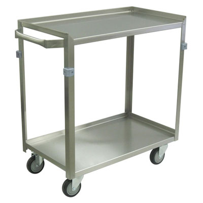 "Medium Duty 2 Shelf Stainless Steel Utility Cart w/ Standard Handle, 3 Lips up & 1 Down, Steel Rigs, & 4"" Thermorubber Casters, 16"" Wide"