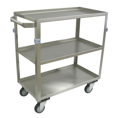 "Medium Duty 3 Shelf Stainless Steel Utility Cart w/ Standard Handle, Lips Up, Steel Rigs & 4"" Thermorubber Casters, 16"" Wide"