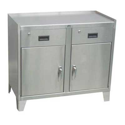 "Stainless Steel Work Height Cabinet w/ 2 Doors & 2 Drawers, 36""W x 24""D"