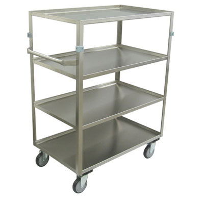"Medium Duty 4 Shelf Stainless Steel Supply Cart w/ Standard Handle, Steel Rigs, & 5"" Thermorubber Casters"