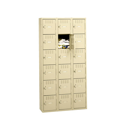"6 High Box Locker - Three Wide w/o Legs, 36""W (Assembled)"