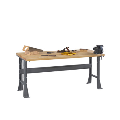 Flared Leg Workbench with Butcher Block Top