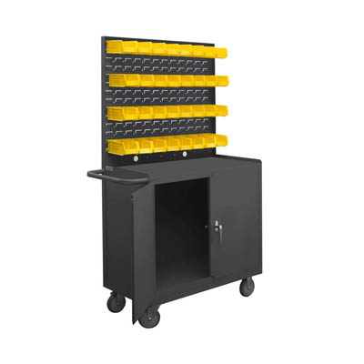 "Mobile Workstation with Lockable Storage Compartment, Louvered Panel & 32 Hook-On Bins - 36""W"