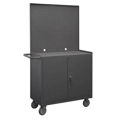 "Mobile Workstation with Lockable Storage Compartment & Pegboard Panel - 36""W"