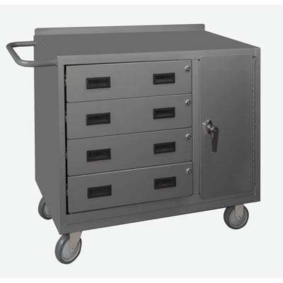 "36"" Wide Mobile Cabinet with 4 Drawers & Lockable Storage Compartment"