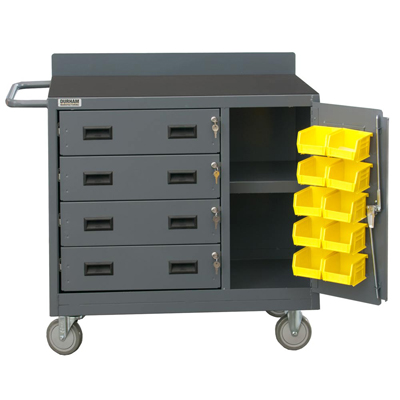 "36"" Wide Mobile Cabinet with 4 Drawers & Lockable Storage Compartment with 10 Bins"