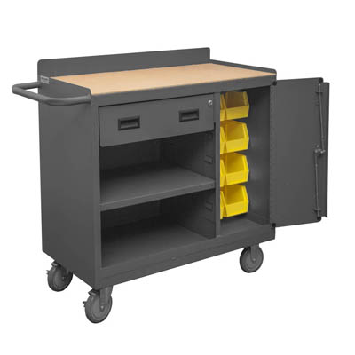 "Mobile Cabinet with Drawer, Shelf & 8 Hook-On Bins in Lockable Storage Compartment - 36""W"