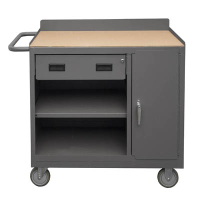 "Mobile Cabinet with Drawer, Shelf & Lockable Storage Compartment - 36""W"