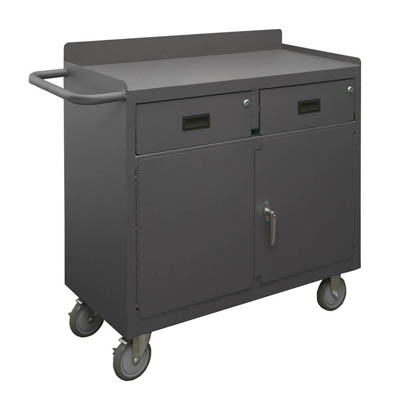 "Mobile Bench Cabinet with 2 Drawers & Lockable Storage Compartment - 36""W"