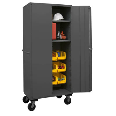 Mobile Cabinet with Hook-On Bins/Shelves, 16 Gauge - 36'W x 24'D x 80'H