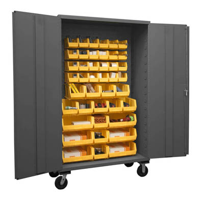 Mobile Cabinet with Hook-On Bins, 16 Gauge - 24'D x 80'H