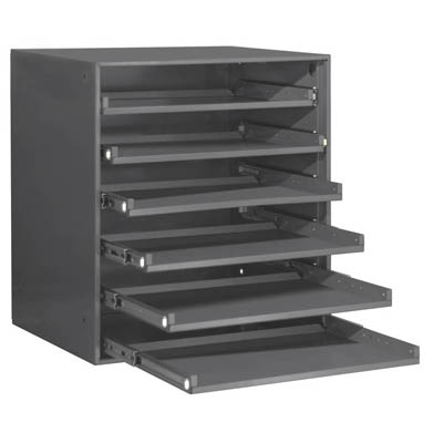 Heavy Duty Bearing Slide Rack, Holds 6 Large Compartment Boxes