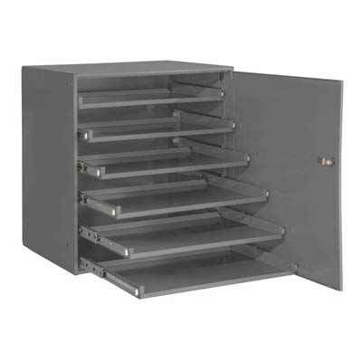 Heavy Duty Bearing Slide Rack with Door, Holds 6 Large Compartment Boxes