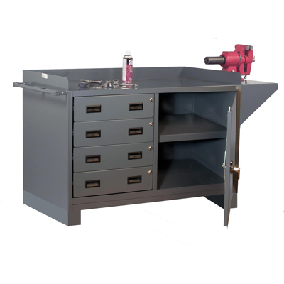 "Stationary Work Station with 4 Drawers - 48"" Wide"