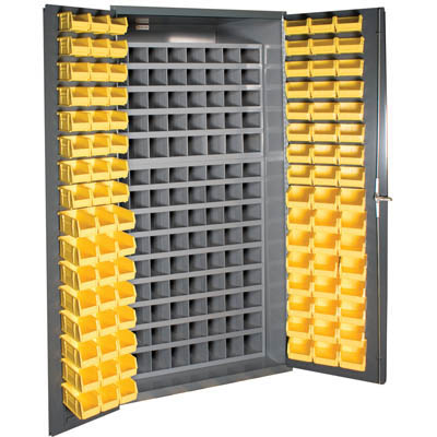 Small Parts Storage & Security Cabinet with 112 Steel Pigeon Hole Bins & 96 Hook-On-Bins (Flush Door Style)