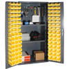 Storage Cabinet with Steel Pegboard, 96 Bins and 2 Adjustable Shelves