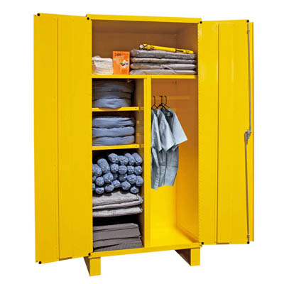 Spill Control Cabinet with Wardrobe & Broom Storage
