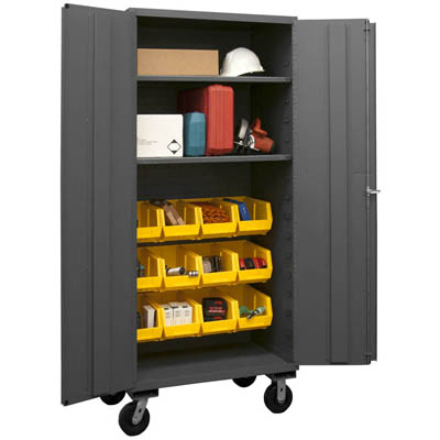 Mobile Cabinet with Hook-On Bins/Shelves, 14 Gauge - 36'W x 24'D x 80'H